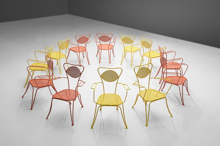 Dining chairs or patio chairs, metal, Italy, 1960s  Wonderful airy patio or dining chairs in differently colored metal. What makes these chairs appear so lightweight is their thin lines of the frame and the fact that seat and part of the backrest