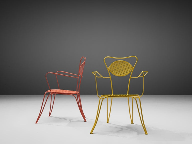 Mid-Century Modern Italian Dining Chairs in Colorful Lacquered Metal For Sale