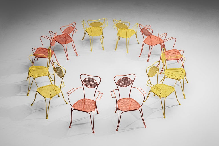 Italian Dining Chairs in Colorful Lacquered Metal In Good Condition For Sale In Waalwijk, NL