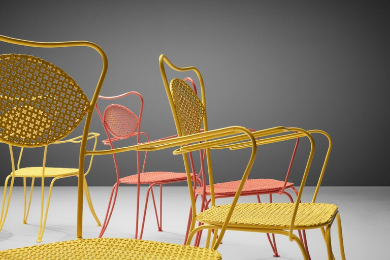 Italian Dining Chairs in Colorful Lacquered Metal For Sale 1