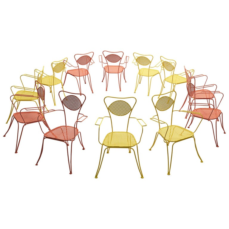 Italian Dining Chairs in Colorful Lacquered Metal For Sale