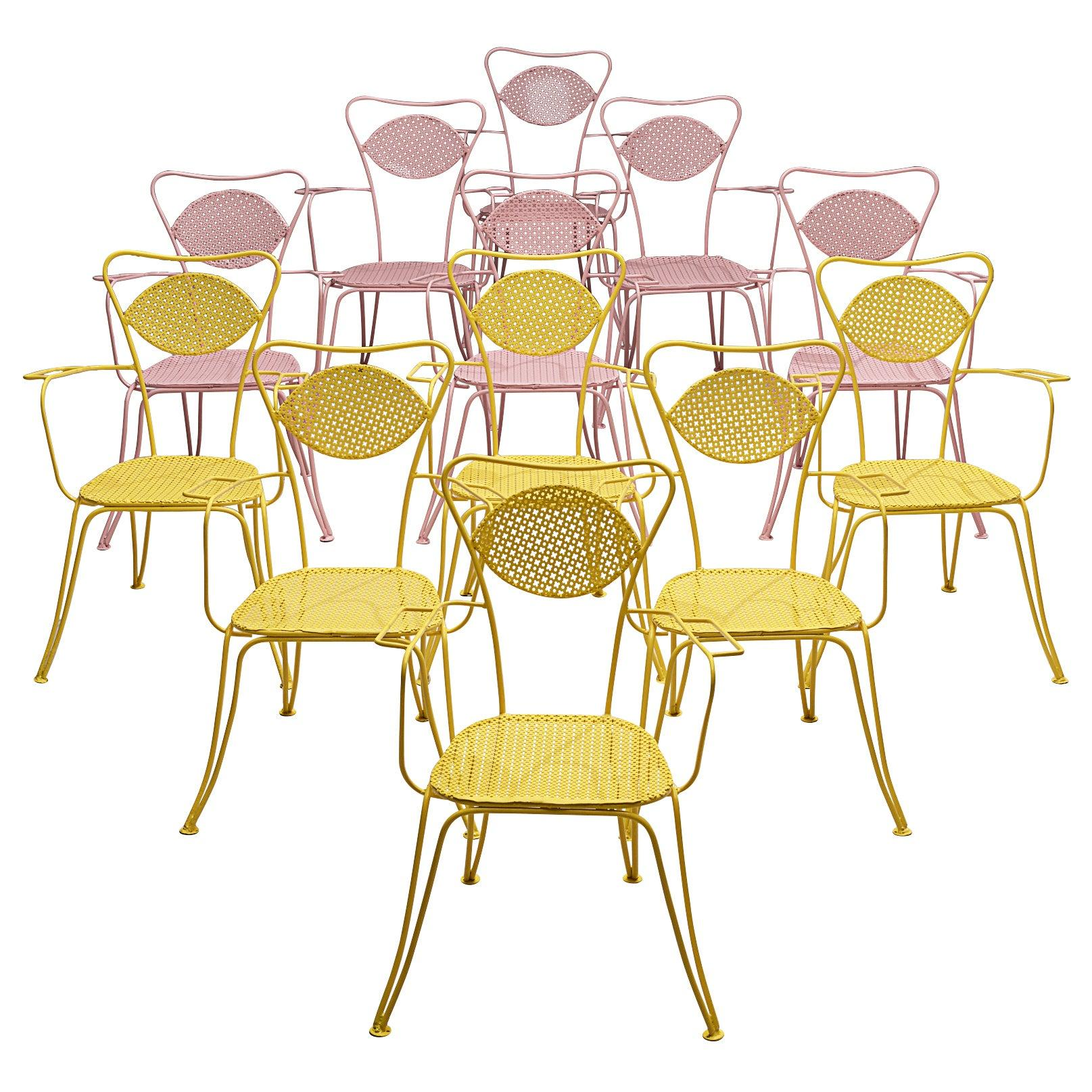 Italian Dining Chairs in Colorful Lacquered Metal