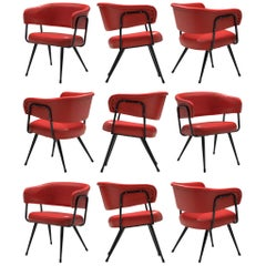 Italian Dining Chairs in Metal and Red Leatherette