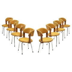 Italian Dining Chairs in Metal and Yellow Leatherette