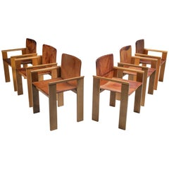 Italian Dining Chairs in Tan Leather in the Style of Scarpa, 1970s