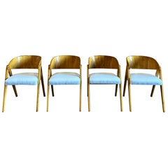 Italian Barrel Back Dining Chairs with Glossy Walnut Finish