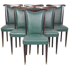 Italian Dining Chairs with Green Faux Leather by Paolo Buffa, 1940s, Set of Six