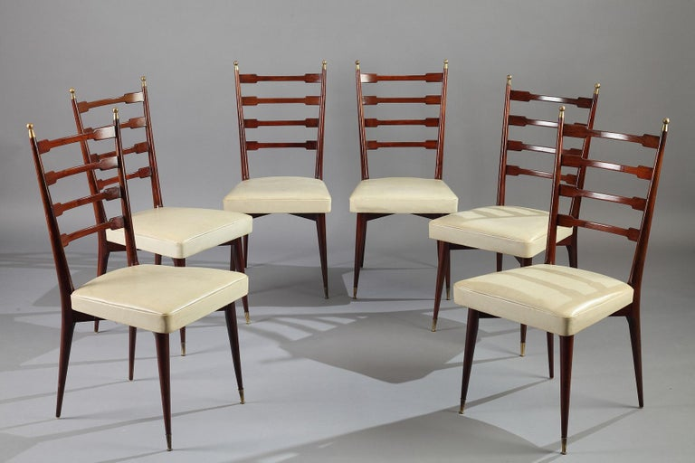 Italian Dining Set, Table and 6 Mahogany Chairs For Sale 4