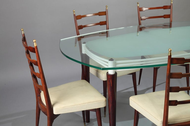 Mid-Century Modern Italian Dining Set, Table and 6 Mahogany Chairs For Sale