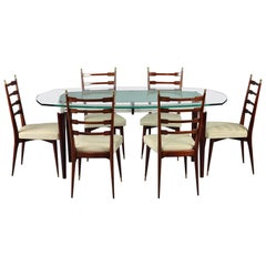 Italian Dining Set, Table and 6 Mahogany Chairs