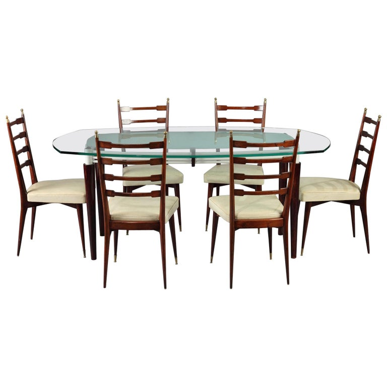Italian Dining Set, Table and 6 Mahogany Chairs For Sale