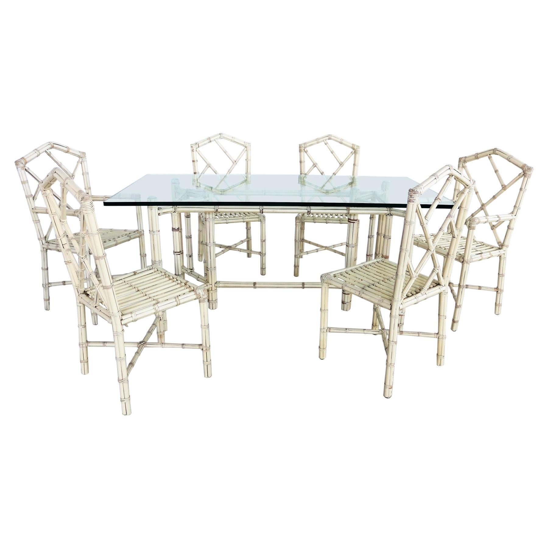 Italian Dining Set with Six Chairs and Table in Varnished Bamboo, 1970s