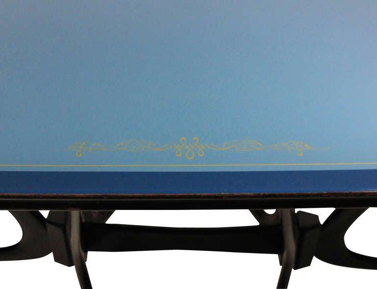 Mid-Century Modern Italian Midcentury Dining Table With Original Blue Glass Top
