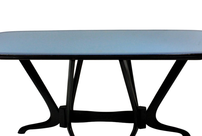 Italian Midcentury Dining Table With Original Blue Glass Top In Good Condition In London, GB