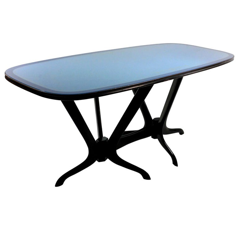 Italian Midcentury Dining Table With Original Blue Glass Top
