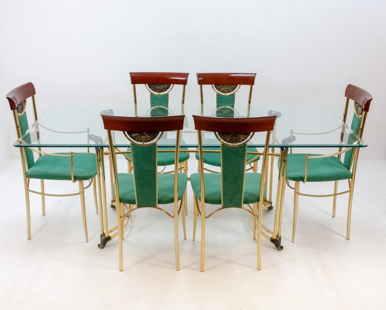 Italian Dining Table and Chairs, 1980s at 1stdibs