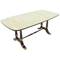Italian Dining Table from 1959 in Glass, Wood and Brass by Fratelli Strada, Roma