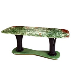Italian Dining Table in Pakistan Green Onyx Marble, 1950s