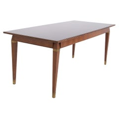 Italian Dining Table in the Style of Paolo Buffa in Wood, Brass and Smoked Glass