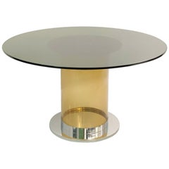 Italian Dining Table in the Style of Salocchi, Smoked Round Glass Top
