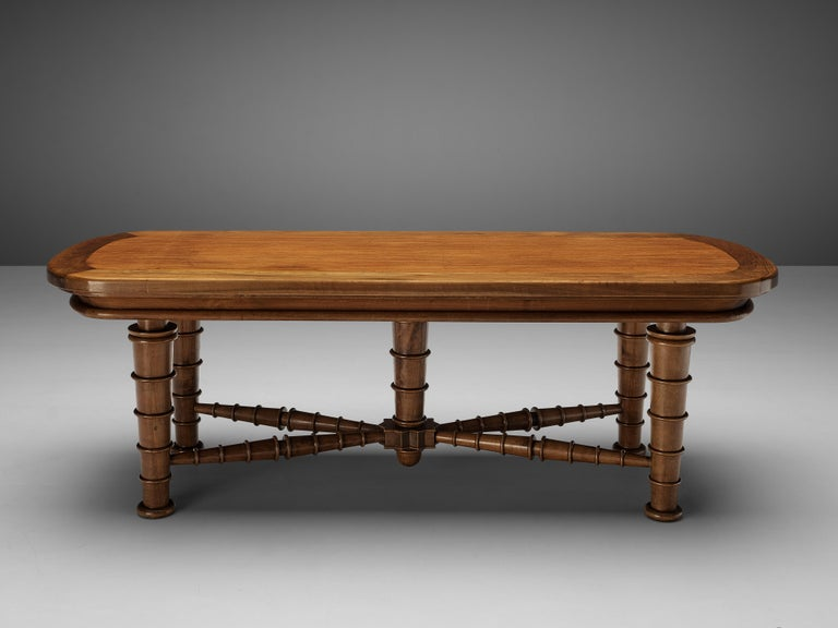 Italian Dining Table in Walnut with Sculptural Base, 1940s For Sale 5