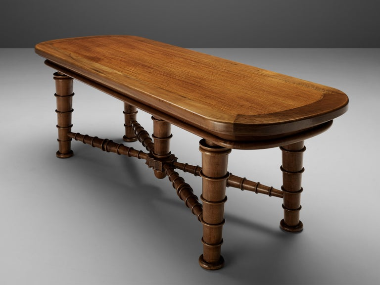 Italian Dining Table in Walnut with Sculptural Base, 1940s For Sale 6