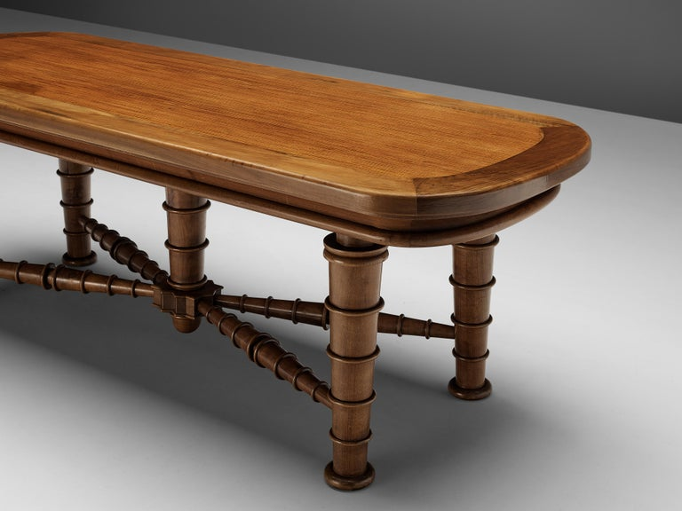 Italian Dining Table in Walnut with Sculptural Base, 1940s For Sale 2