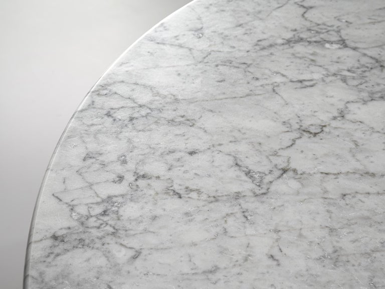 Metal Italian Dining Table in White Marble For Sale