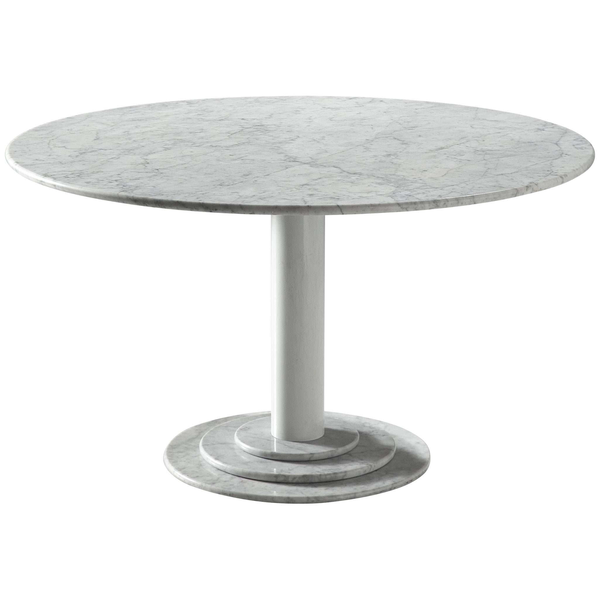Italian Dining Table in White Marble