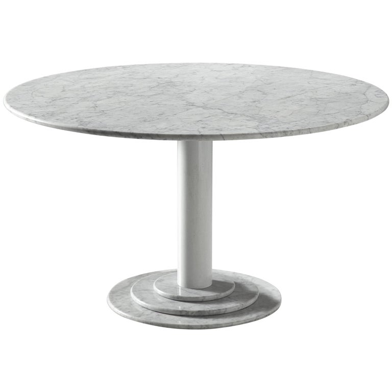 Italian Dining Table in White Marble For Sale