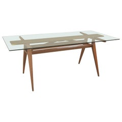 Italian Dining Table Walnut Crystal and Brass, 1950