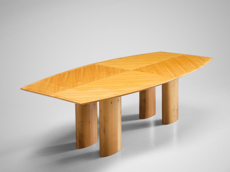 Mid-Century Modern Italian Dining Table with Boat Shaped Top For Sale