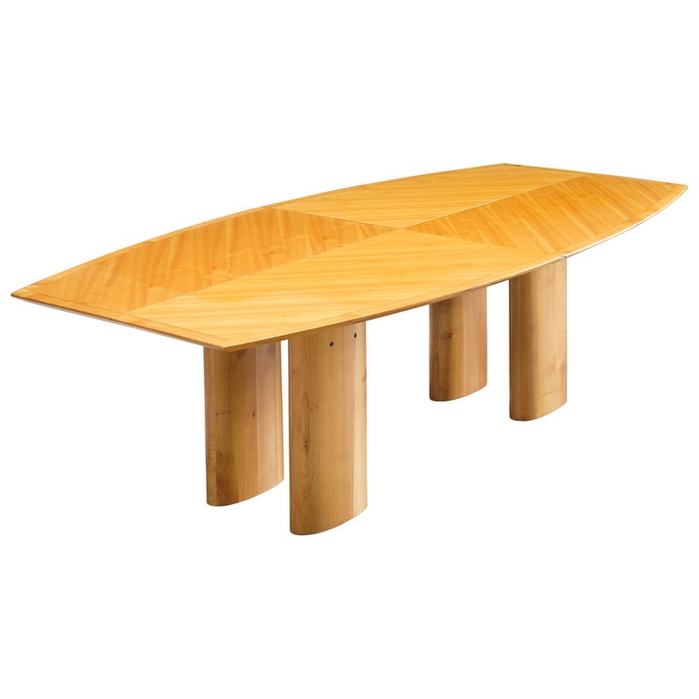 Italian Dining Table with Boat Shaped Top For Sale
