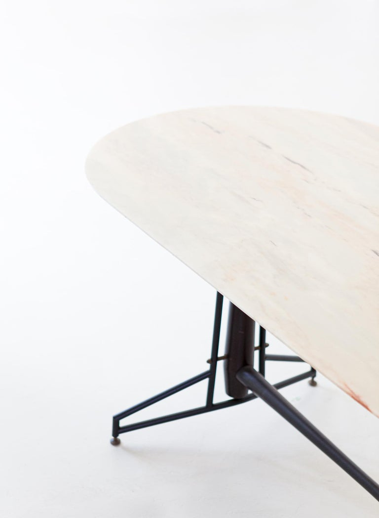 Mid-Century Modern Italian Dining Table with Marble Top and Iron and Wood Frame, 1950s For Sale