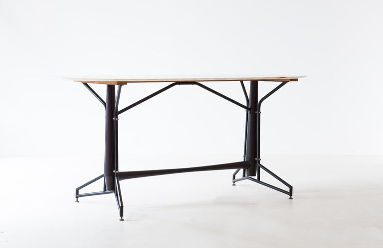 Italian Dining Table with Marble Top and Iron and Wood Frame, 1950s In Good Condition For Sale In Rome, IT