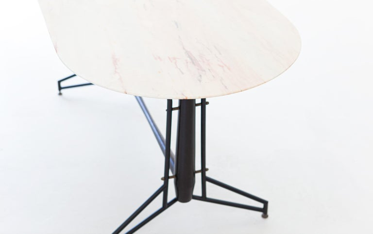 Mid-20th Century Italian Dining Table with Marble Top and Iron and Wood Frame, 1950s For Sale