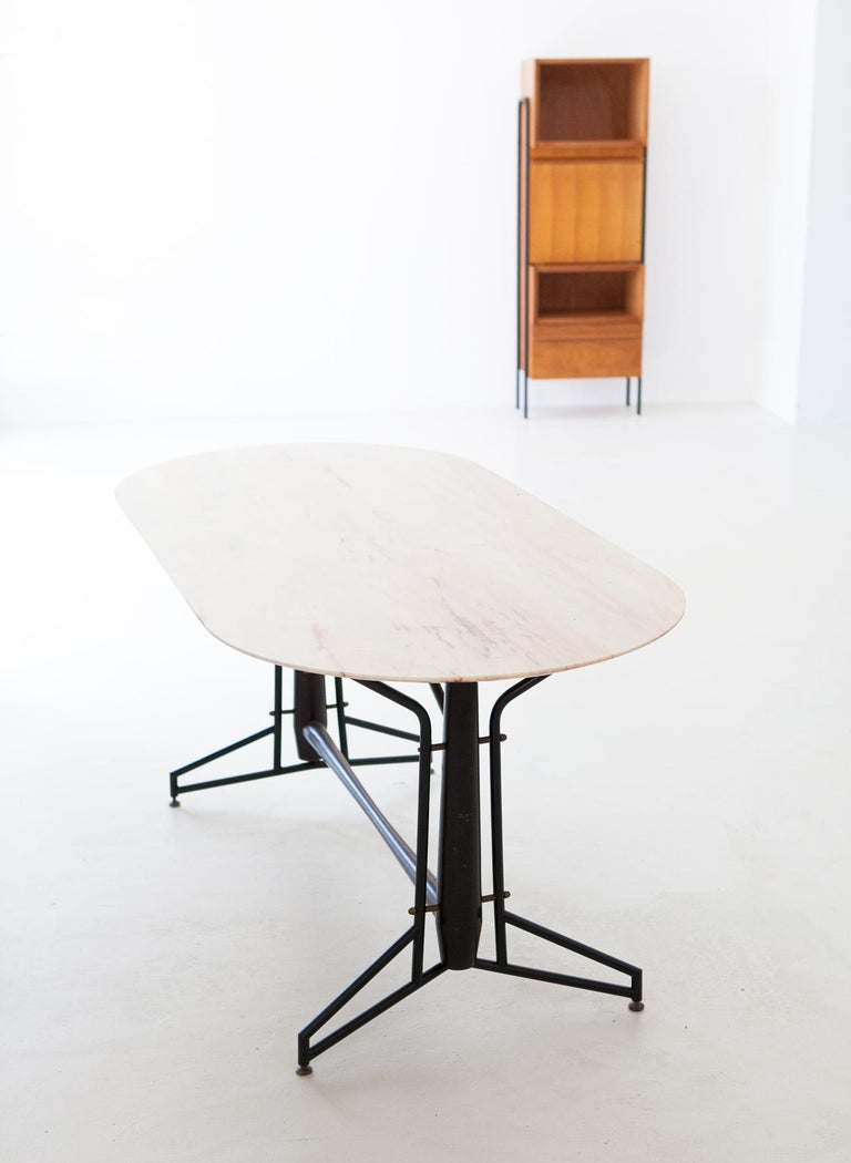Italian Dining Table with Marble Top and Iron and Wood Frame, 1950s For Sale 1
