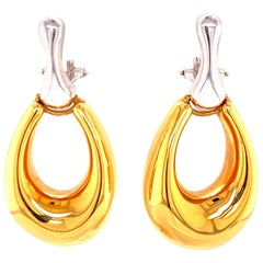 Italian Door Knocker Drop Earrings 14 Karat Two-Tone Gold