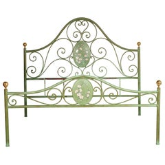 Italian Double Bed Painted Antiqued Green and Hand-Decorated Iron, Golden Parts
