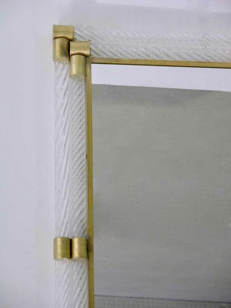 Italian Double Frame Twisted Crystal Murano Glass Mirror with Gold Brass Accents For Sale 4