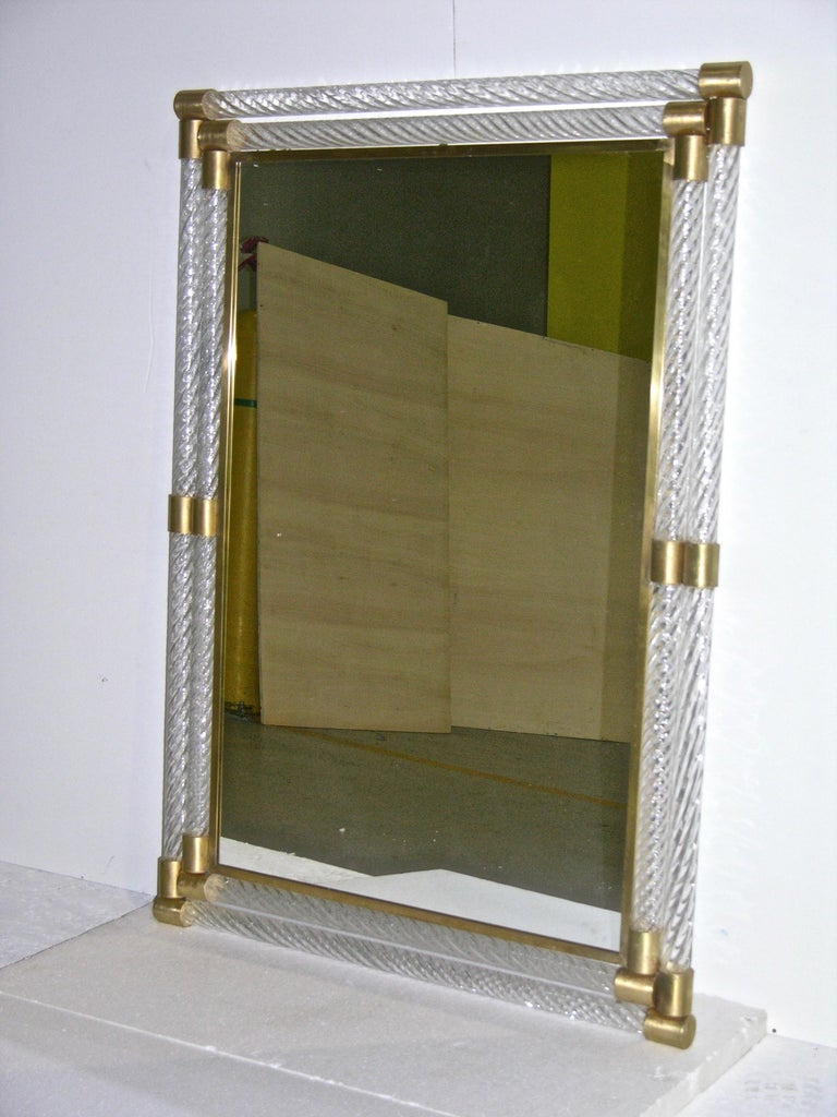 Contemporary Italian Double Frame Twisted Crystal Murano Glass Mirror with Gold Brass Accents For Sale