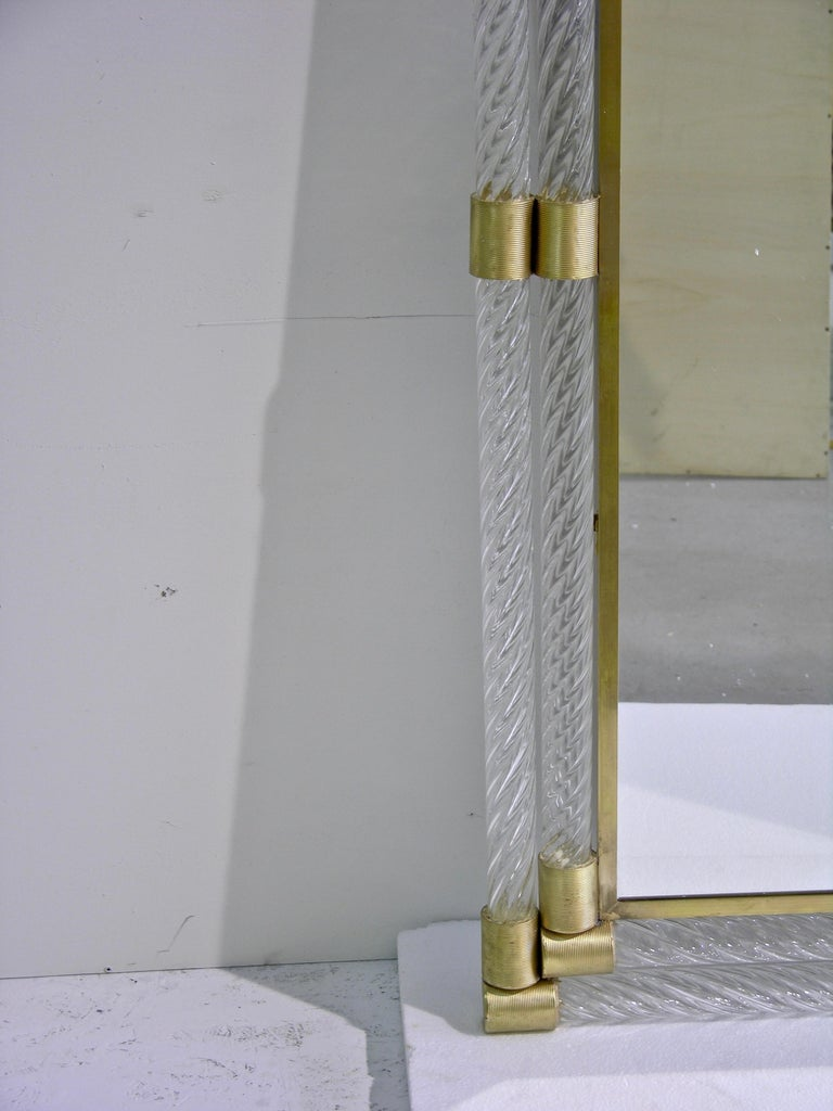 Italian Double Frame Twisted Crystal Murano Glass Mirror with Gold Brass Accents For Sale 2