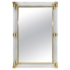 Italian Double Frame Twisted Crystal Murano Glass Mirror with Gold Brass Accents