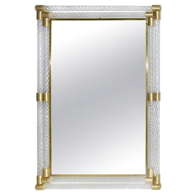 Italian Double Frame Twisted Crystal Murano Glass Mirror with Gold Brass Accents For Sale