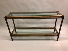 Italian Double Level Rattan and Brass Console by Banci