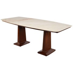 Italian Double Pedestal Table with Marble-Top in Style of Vittorio Dassi
