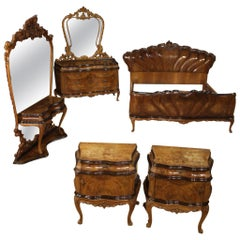 Italian Dresser with Wooden Mirror, 20th Century