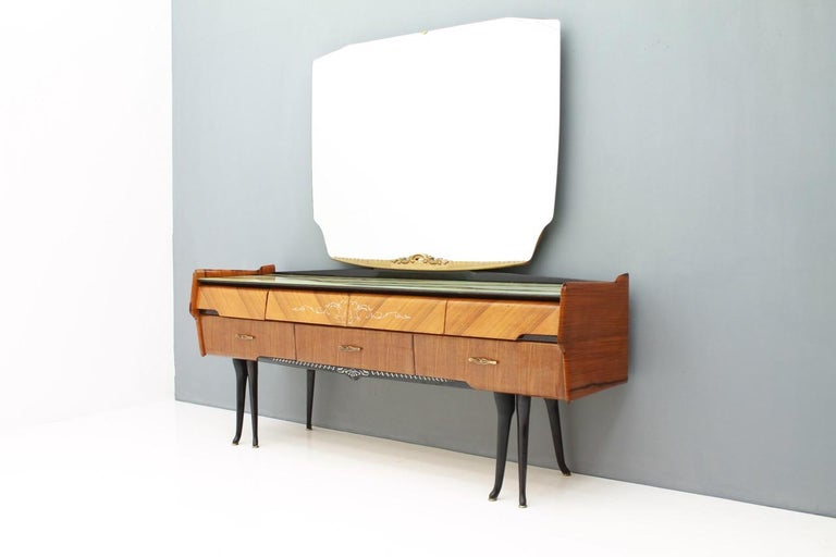 Mid-Century Modern Italian Dressing Sideboard Vanity with Mirror and Horse Legs, 1959 For Sale