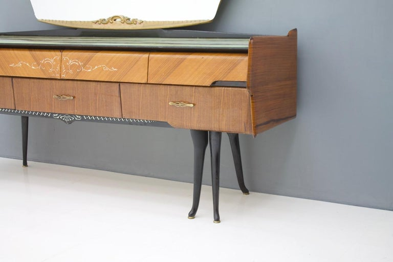 Mid-20th Century Italian Dressing Sideboard Vanity with Mirror and Horse Legs, 1959 For Sale