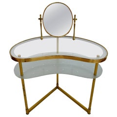 Italian Dressing Vanity Table and Chair of Brass and Glass, Illuminated, 1950s